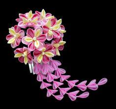 pink japanese kanzashi hair ornament