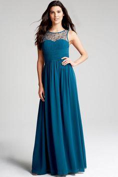 Little Mistress Petrol Blue Embellished Neck Maxi Dress - Little Mistress from Little Mistress UK