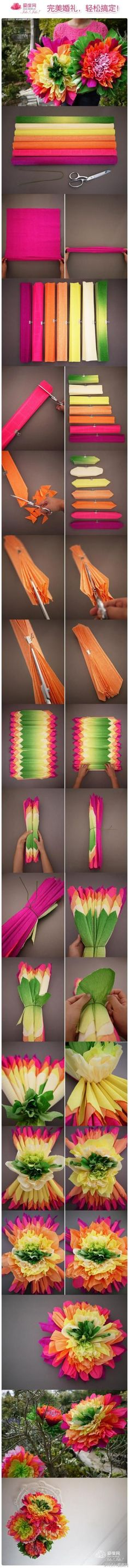 Wow! Super bright giant paper flowers to make.