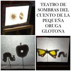 How to do the Shadow Puppet Story of The Very Hungry Caterpillar (w/ printing template) // Teatro de sombras de La Oruga Glotona con plantilla imprimible Eric Carle, Reggio Emilia, Shadow Theatre, Diy And Crafts, Crafts For Kids, Three Little Pigs, Shadow Puppets, Very Hungry Caterpillar, Fun Activities For Kids