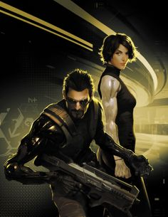 This Jim Murray concept art for Deus Ex: Human Revolution depicts a more action oriented posture of the protagonist than in many other works.