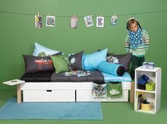 Features: Slatted frame made of laminated, compression-moulded birch wood 2 drawers for bedding, toys and other items Material: MDF and beech wood Pr Triple Sleeper Bunk Bed, High Sleeper Bed, Kid Beds, Bunk Beds, Convertible Toddler Bed, Bed Frame With Drawers, Single Bunk Bed, 54 Kg, Childrens Beds