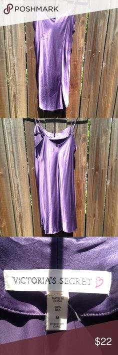 """Victoria's Secret silk lingerie slip chemise dress This Victoria's Secret chemise slip dress is 100% silk and can be worn under a sheer dress as an under layer or on its own in the style of Kendall and Kylie Jenner for a night out. Slit in front measures 7"""". Straps are adjustable. EUC. Feel free to ask questions. Victoria's Secret Intimates & Sleepwear Chemises & Slips"""
