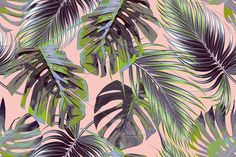 Tropical palm leaves pattern by Tropicana on @creativemarket
