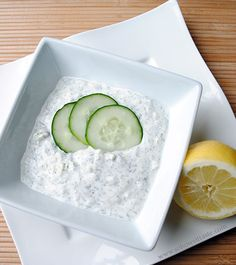 Homemade tzatiki sauce just how I like it - a bit garlicky, with some bite from lemon and dill,, but incredibly fresh. Yum! Can't wait to make this with the new fresh garden veggies of the summer.