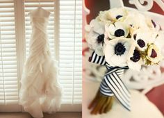 Vera Wang Wedding Dress  White Anemone with black center bouquet