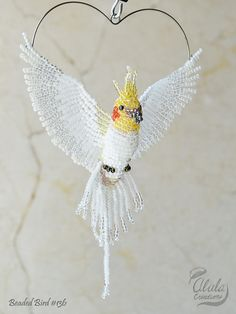 Cockatiel Suncatcher Bird Ornament Bird Necklace by AlulaCreations