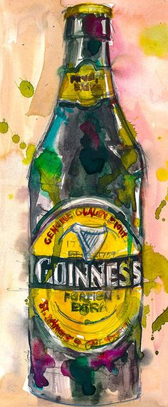 Guinness Extra Stout Print from Original Watercolor  by dfrdesign