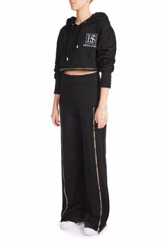 This wide-leg track pant is bad and awesome. Hooded Dress, Adidas Jacket, Wide Leg, Track, Women Wear, Zip, Model, How To Wear, Style