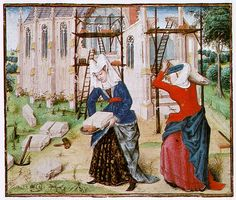 Women Building, 1447 by Roman Des Girart Von Roussillon on Curiator, the world's biggest collaborative art collection. 15th Century Fashion, 15th Century Clothing, 14th Century, Medieval Life, Medieval Art, Medieval Dress, Medieval Manuscript, Illuminated Manuscript, Renaissance Time