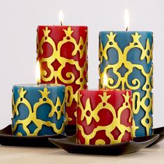 Embossed Pillar Candles, Sets of 2