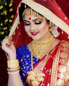 Indian Wedding Couple Photography, Indian Wedding Bride, Bengali Wedding, Indian Wedding Jewelry, Bridal Photography, Indian Weddings, Wedding Girl, Bridal Makeup Images, Bridal Makeup Looks