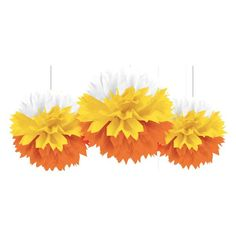Candy Corn Fluffy Decorations 3ct