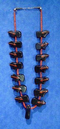 Published RARE Zuni Jet Bear Fetish Necklace/ Earrings set c.1970 by JUAN HASHKE