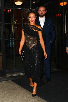Ruth Negga at the premiere of Loving in New York dressed in a shimmery Rodarte dress.