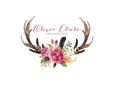 Watercolor Antlers Logo Peony Flower Logo Feather Floral Antlers Premade Logo Design Rustic Photography Logo