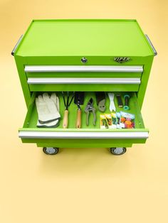 """I keep my gardening supplies in a rolling metal tool chest so I can easily push it from the garage to the yard."" — Vern Yip, HGTV Design Star"