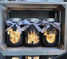 This set of 3 Walt Disney mason jars with lighting is perfect for you .This set of 3 Walt Disney mason jars with lighting is perfect for your home or . - lighting this disney Pot Mason Diy, Diy Mason Jar Lights, Mason Jar Lighting, Mason Jar Crafts, Bottle Crafts, Ball Mason Jars, Walt Disney, Deco Disney, Disney Theme