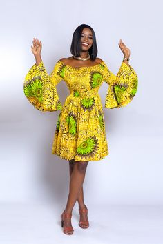 Ankara off-shoulder elastic-dress African print dress