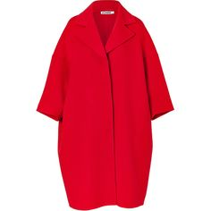 JIL SANDER Fire Red Oversized Wool Coat ($2,350) found on Polyvore