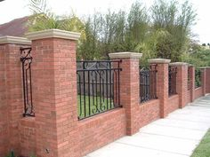 Brick or Stone Pillars and Columns – Central Oklahoma Fence Home - Zaun Ideen Brick Columns, Brick Fence, Concrete Fence, Front Yard Fence, Red Brick Walls, Farm Fence, Fenced In Yard, Stone Pillars, Metal Fence