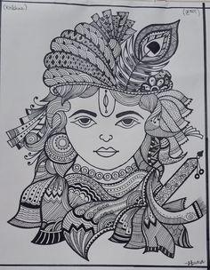 Doodle Art Drawing, Zentangle Drawings, Mandala Drawing, Krishna Drawing, Krishna Art, African Art Paintings, Mandala Art Lesson, Doodle Art Designs, Art Painting Gallery