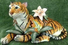 Fitz Floyd Classics Ceramic Jungle Tiger Cat Covered Candy Dish Cookie Jar Lid   eBay