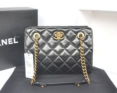 2013 New! Chanel A37015 Original CC Crown Tote Small Bag Black