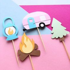 New glamping themed toppers! 🏕🔥 … . . . #paperlyss #handmade #cricut #etsy #etsyshop #etsyseller #etsymaker #etsyfinds #shopsmall #smallbusiness #makeitwithmichaels #michaelsmakers #handmadeisbetter #madewithlove #craftsposure #paperart #cupcaketoppers #caketopper #cakedecorating #cake #cakepops #glamping #onehappycamper