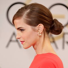 Cool and elegant knot updo with side part. Emma Watson.