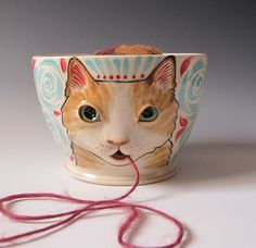 Tabby Cat Yarn Bowl - sculpted kitty with turquoise roses