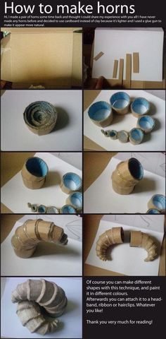 DIY: How to Make Horns. I'd imagine you could smooth it over later with fabric, or light clay, or mesh too!