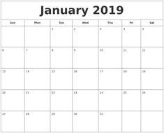 January 2019 Printable Calendar Template January2019 Calendar