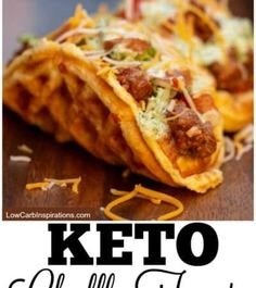 This Keto Chaffle Tacos Recipe is the best I've ever tried! You can make your ow… This Keto Chaffle Tacos Recipe is the best I've ever tried! You can make your own keto taco seasonings too! This is an easy keto dinner idea that doesn't take long to make! Low Carb Keto, Low Carb Recipes, Diet Recipes, Cooking Recipes, Healthy Recipes, Recipes Dinner, Kids Taco Recipes, Good Recipes, Taco Ideas