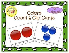 These cards are terrific for Math Centers – A Hands-On Activity your kiddos will love!  Colors Clip Cards allow learners to practice counting. There are 20 clip cards. On each card is a set of pictures to count and a choice of three numerals. Learners count the pictures in the set and clip a clothespin to the numeral that corresponds with the number of pictures in the set.