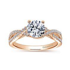 Gina 14k Rose Gold Round Twisted Engagement Ring angle 5