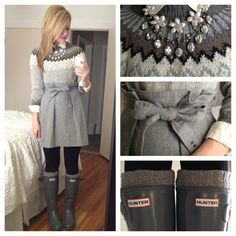 Sweater dress + black leggings + grey rain boots + boot liners
