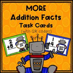 Looking for a fun and interactive way for students to practice their addition facts?  On each task card, students are asked to provide the answer to an addition fact.  Each task card also includes a QR code, making self-correcting fun and easy.  Simply scan the code and see the answer.