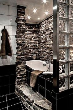 Rugged but luxe bathroom