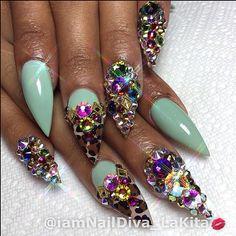 Mint stilettos with gemstone overload. Adore it!