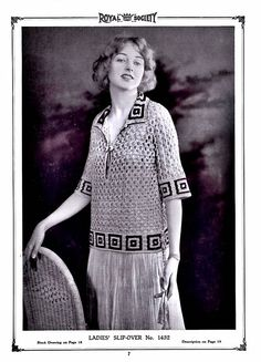 Filet Crochet Pullover Sweaters 1920's PDF Pattern Vintage Reproduction Instant Digital Seven e-Pattern Download Bust 36-38 Inches