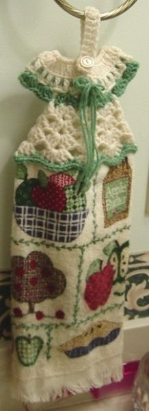 Crocheted Dress Towel Hanger