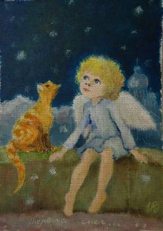 Needlepoint canvas 'First snow.Angel and red cat' by Irina Kapustina
