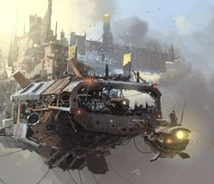 The Steampunk Page - Rubbish In, Robish Out! Steampunk Kunst, Steampunk Airship, Dieselpunk, Sci Fi Environment, Environment Design, Sci Fi Fantasy, Fantasy World, Matte Painting, Science Fiction Art