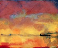"lonequixote: "" Yellow Sea with Small Steamships by Emil Nolde """