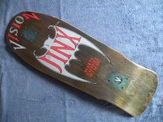 Probably my favorite Vision Deck- Marty Jiminez JINX Vision Skateboards, Old School Skateboards, Complete Skateboards, Skates, Skateboard Logo, Dragon Sleeve Tattoos, Vision Street Wear, Skate And Destroy, Skate Decks
