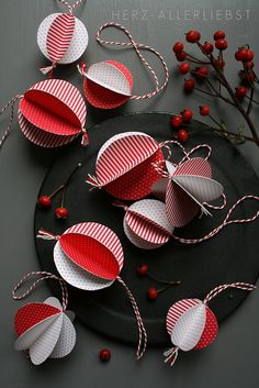 DIY Christmas baubles - bjl   ... red and white circles ... baker's twine to hange ...