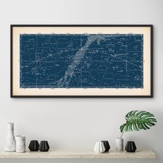 This striking panoramic star map print looks amazing on any wall and is available in your choice of six colors.  It is adapted from a very rare 19th century constellation map, that Ive lovingly repaired and restored. Ive antiqued the background with a delicate patina to give it a more vintage feel. I just love how it instantly adds charm and a touch of drama to any room.  Available in six beautiful colors: Blue, Midnight Blue, Slate, Black, Brown, Aubergine  Printed on archival…