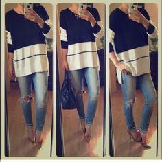Blk & white top Beautiful soft baseball inspired shirt. Modeling med Tops