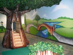 Worlds Of Wow - Children's Church Themed Environments Church Nursery Decor, Preschool Rooms, Preschool Library, Preschool Education, Worlds Of Wow, Sunday School Rooms, School Murals, Kids Church, Church Ideas